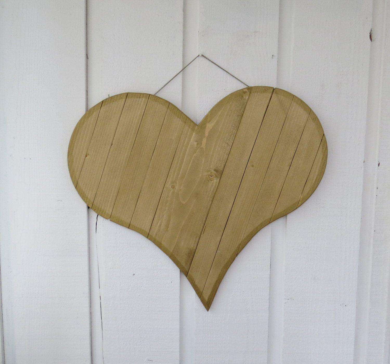 Rustic Wood Heart Painted Wood Heart Large Gold Heart Decor Heart Wall Hanging Handmade Heart Shabby Cottage Heart Shabby Wall Deco Heart Decorations Shabby Cottage Heart Wall