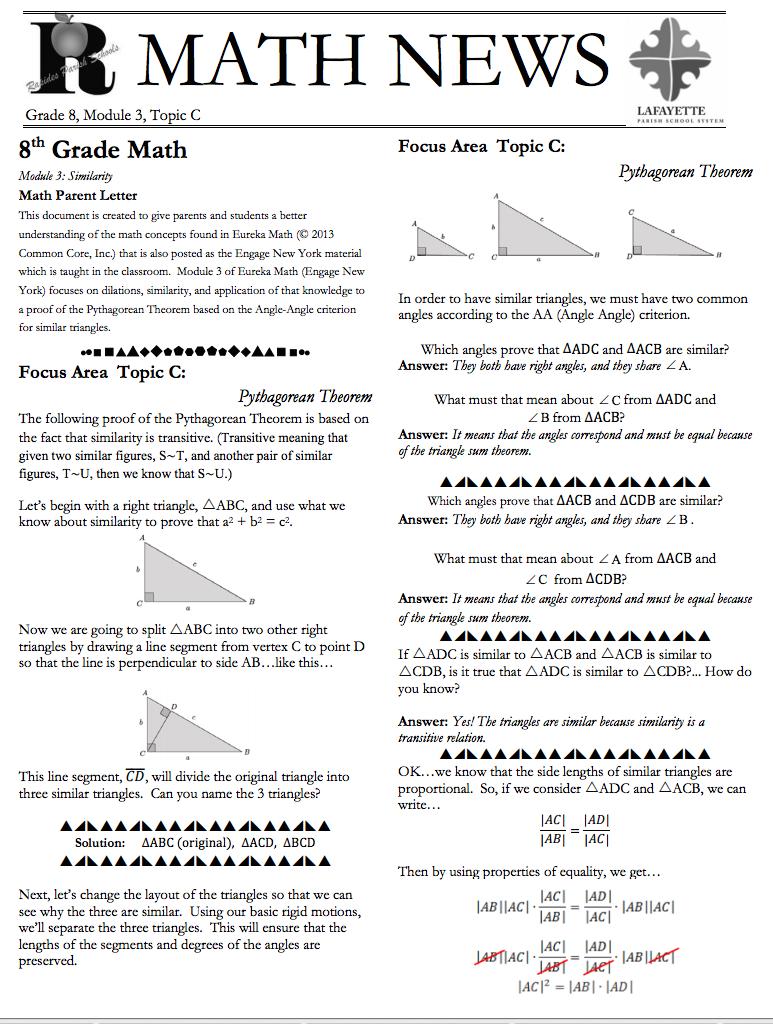 Grade 8 Module 3 Topic C Parent Newsletter Developed By Eureka Math Users Lafayette Parish Schools Eureka Math 8th Grade Math Math [ 1024 x 773 Pixel ]