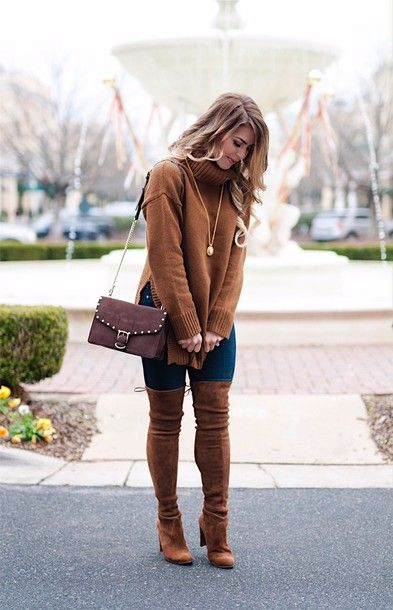 064009f78c5 Sweater  herestheskinny blogger jeans shoes bag jewels make-up thigh high  boots boots shoulder bag