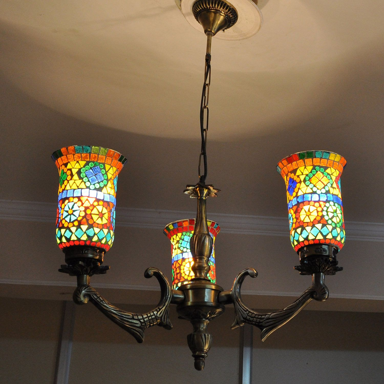 Indian Chandelier 3Light Ceiling Mounted Fixture Fitting