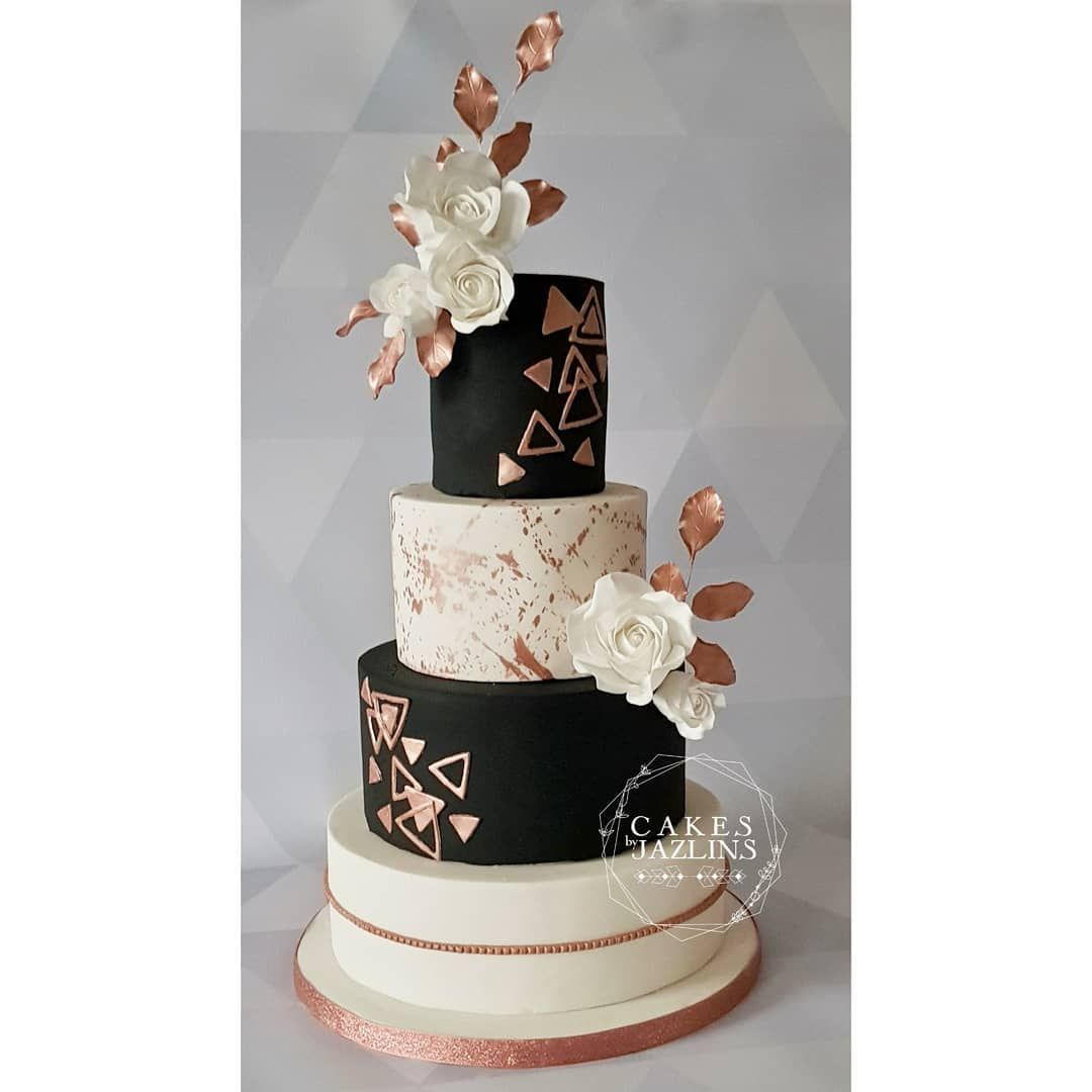 Modern Geometric Black And Rose Gold Wedding Cake Rose Gold