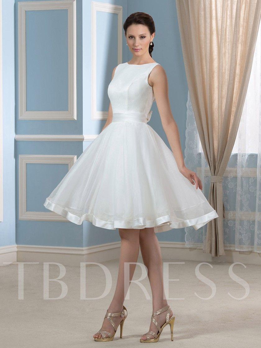 Bowknot Open Back Short Beach Wedding Dress Short Wedding Dress Beach Wedding Dresses Wedding Gowns Lace [ 1120 x 840 Pixel ]