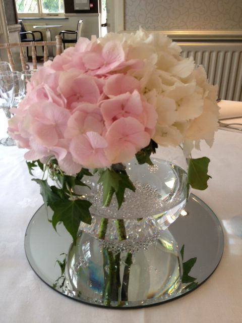 Pink white hydrangea handtie globe vase fishbowl