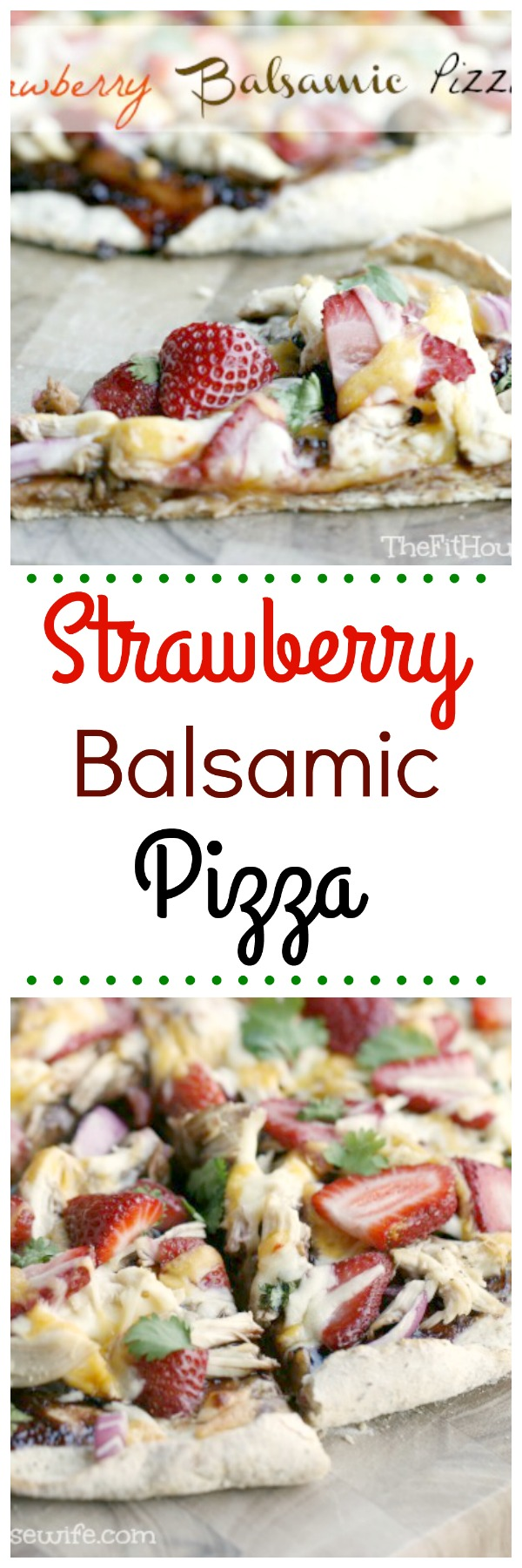 "Strawberry Balsamic Pizza. Strawberry jam and balsamic vinegar come together to make this pizza ""sauce!"" A sweet a savoury pizza that is sure to please everyone."