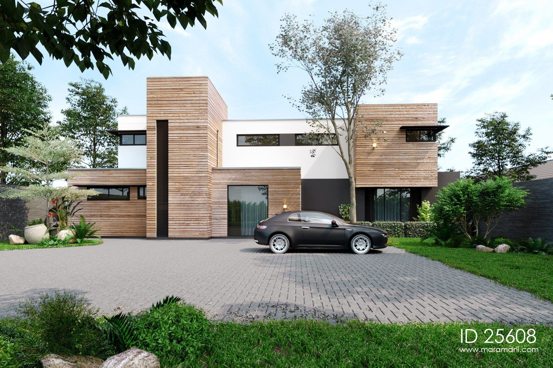 Timber Clad 5 Bedroom Contemporary House Id 25608 Maramani Com Modern House Plans Bedroom House Plans Luxury House Plans