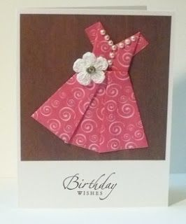 Origami Dress card.. Stylish way of giving a birthday card.. photo from @Helen Palmer Bennett.blogspot.com