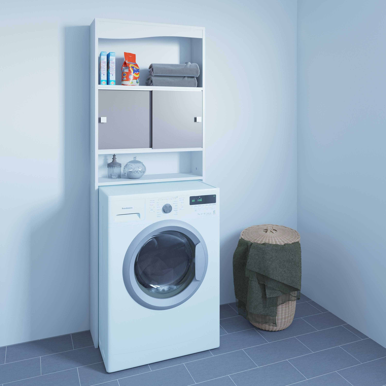 Wasmachinekast Surf Wit Taupe Armoire De Toilette Meuble Machine A Laver Penderie Conforama