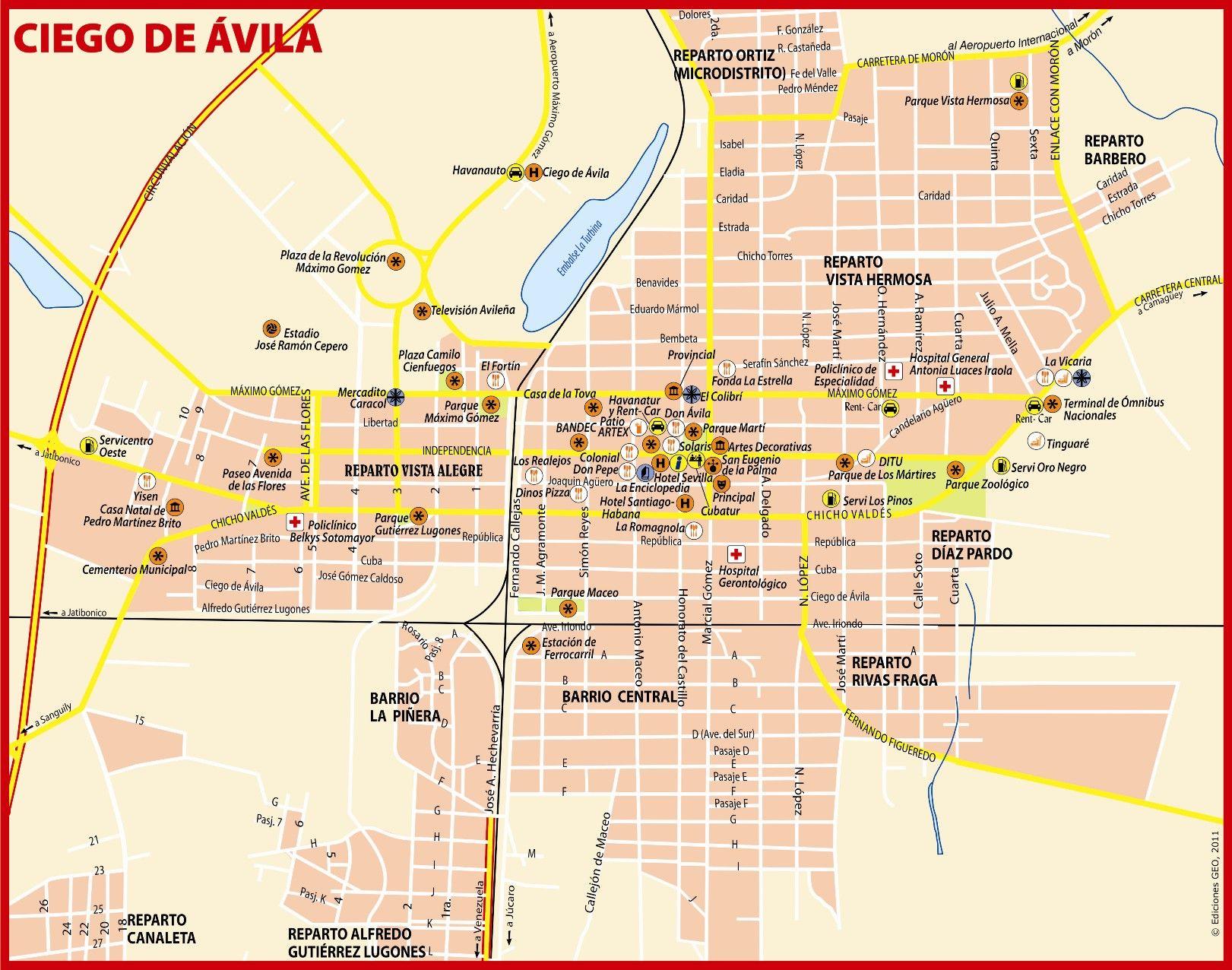 Mapa Turistico De Avila.Plano Ciego De Avila 2011 Cuba Mapa De Cuba Cuba Y La