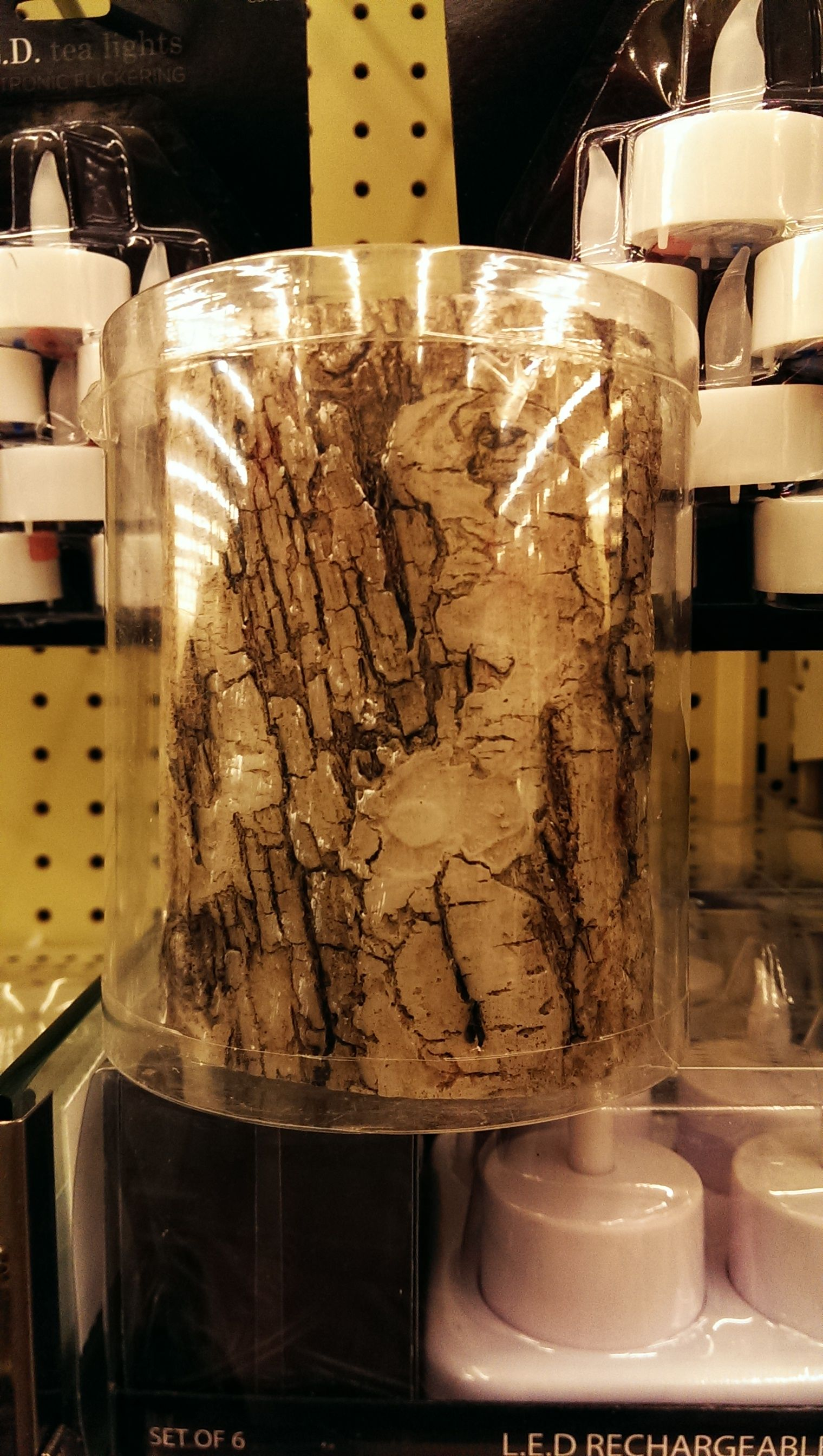 We'll use these birch bark LED candles in the lanterns