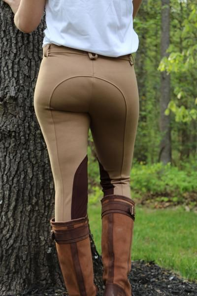 b373650ea64 Back View - Women s tan breeches with brown knee patches - part of the curvy  mare womens riding apparel collection. Model wears breeches with tall brown  ...