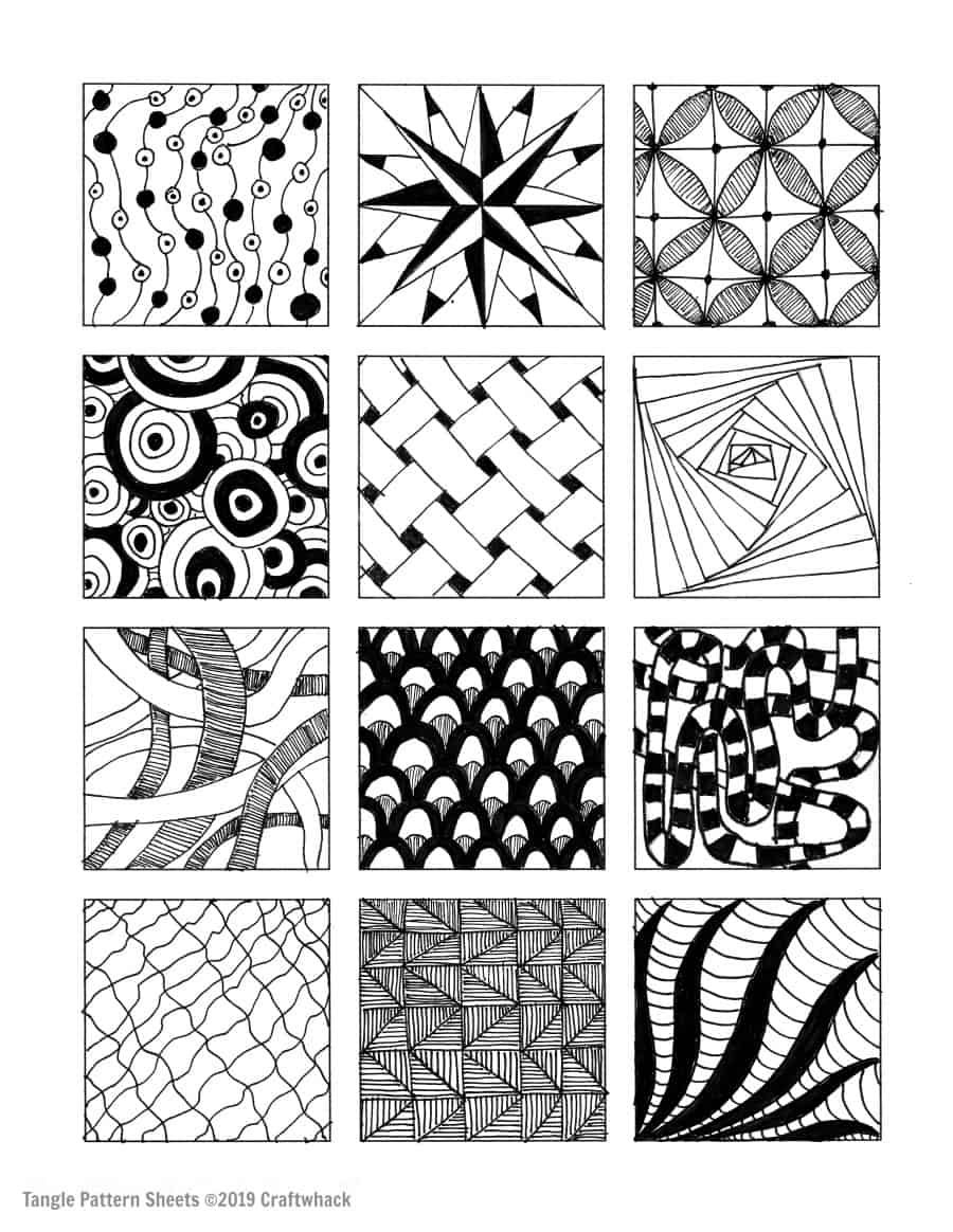 Inspired By Zentangle Patterns and Starter Pages is part of Doodle art for beginners, Doodle art designs, Zentangle patterns, Doodle art flowers, Doodle art drawing, Doodle art posters - Zentangle patterns and some awesome tangle starter sheets to download