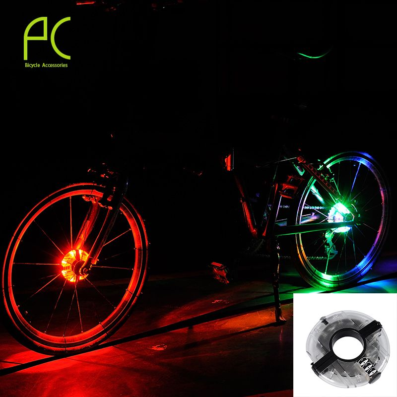 Pcycling 새로운 도착 3 모드 방수 자전거 휠 신호 타이어 라이트 8 산악 자전거 LED 손전등 배터리 방수