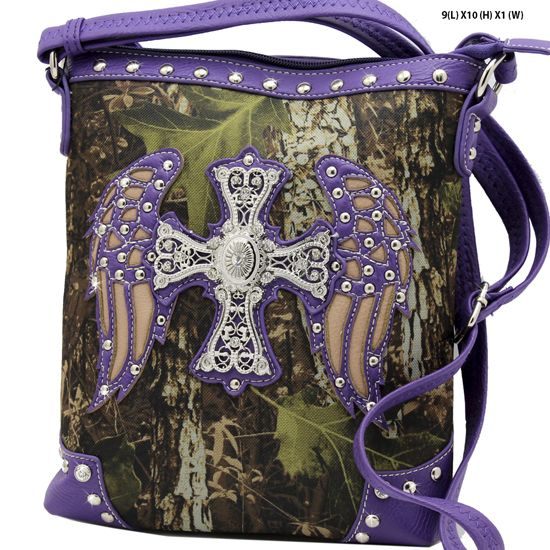 CUTE NEW ANGEL WINGS CAMO CAMOUFLAGE WESTERN HIPSTER CROSS BODY MESSENGER BAG PURSE PURPLE