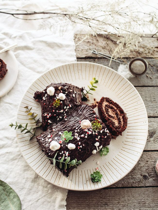 Vegan Chocolate Yule Log - Izy Hossack - Top With Cinnamon