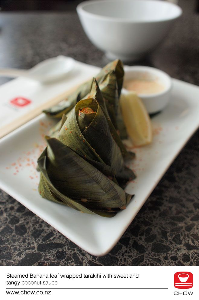 Banana leaf wrapped tarakihi with sweet and tangy coconut sauce