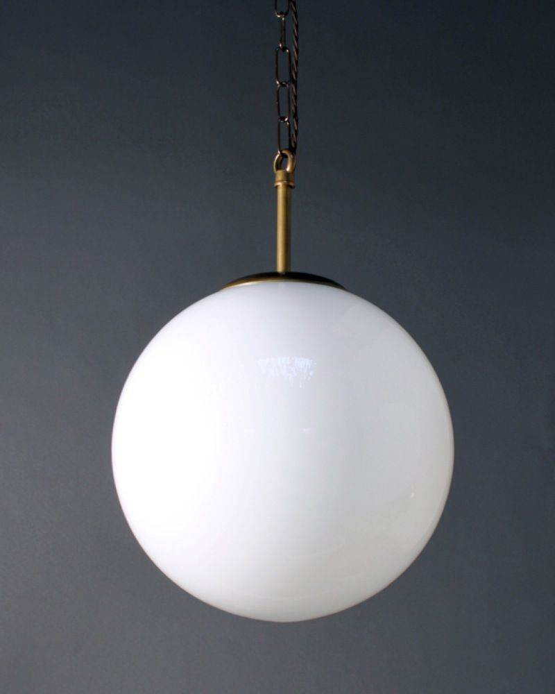 globe pendant lighting. Globe Light Pendant White Glass Shade Incandescent Bulb Brass Metal Fitting Chain Hanging Lighting
