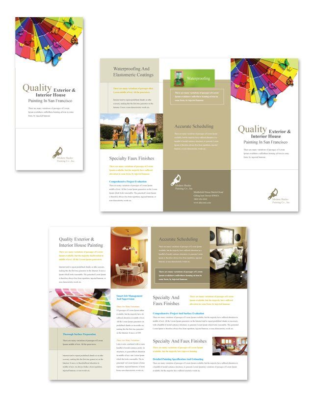 house painting contractor tri fold brochure template http www