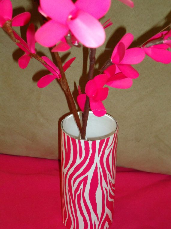 Hot Pink Zebra Print Vase By Liliesandlove On Etsy 1000 Misc