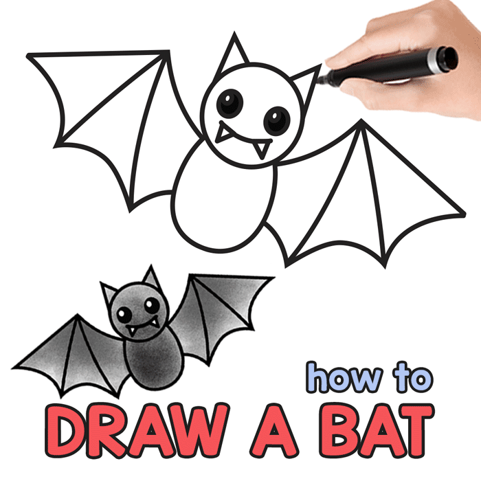 How To Draw A Bat Step By Step Bat Drawing Tutorial Easy