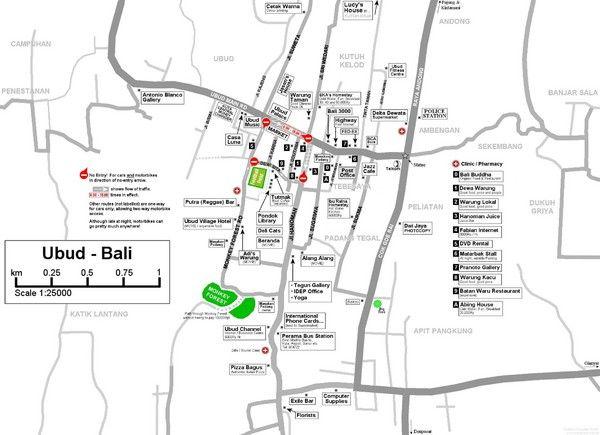 Ubud Tourist Map Bali Pinterest
