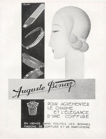 Flapper Hair Decoration AUGUSTE BONAZ Large Art Deco Hair Comb Black Celluloid Hair Comb Antique French Comb Hair Ornament