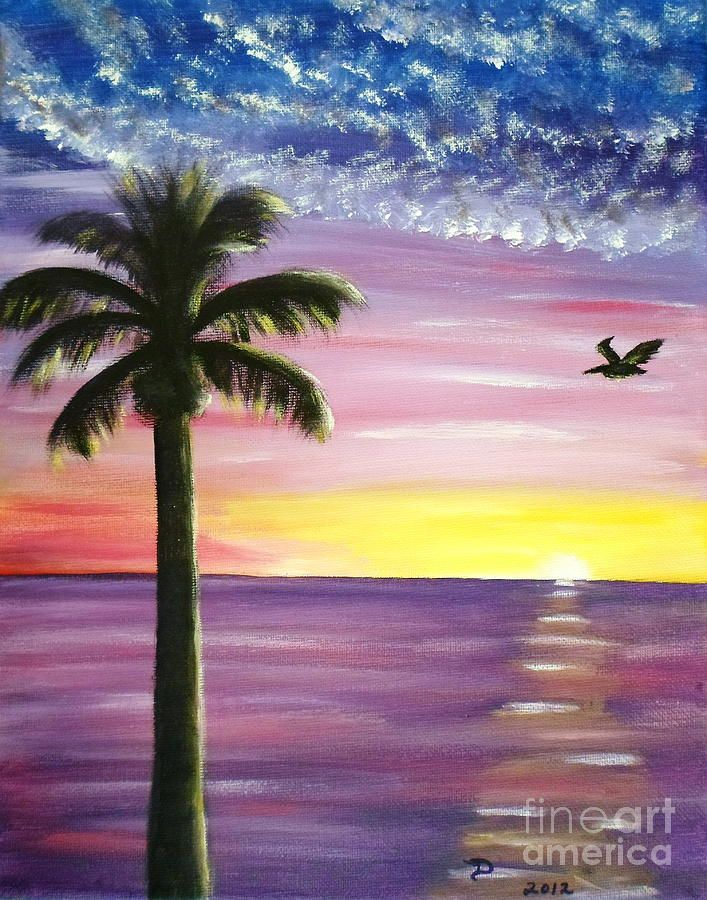 Pelican And Palm Tree Sunset By Diane Wigstone Painting Tree
