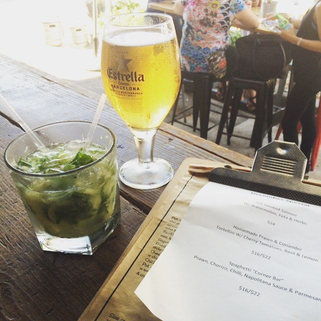 Cheers! Date night pineapple mojito for me and beer for the Welshman at Corner Bar Rozelle