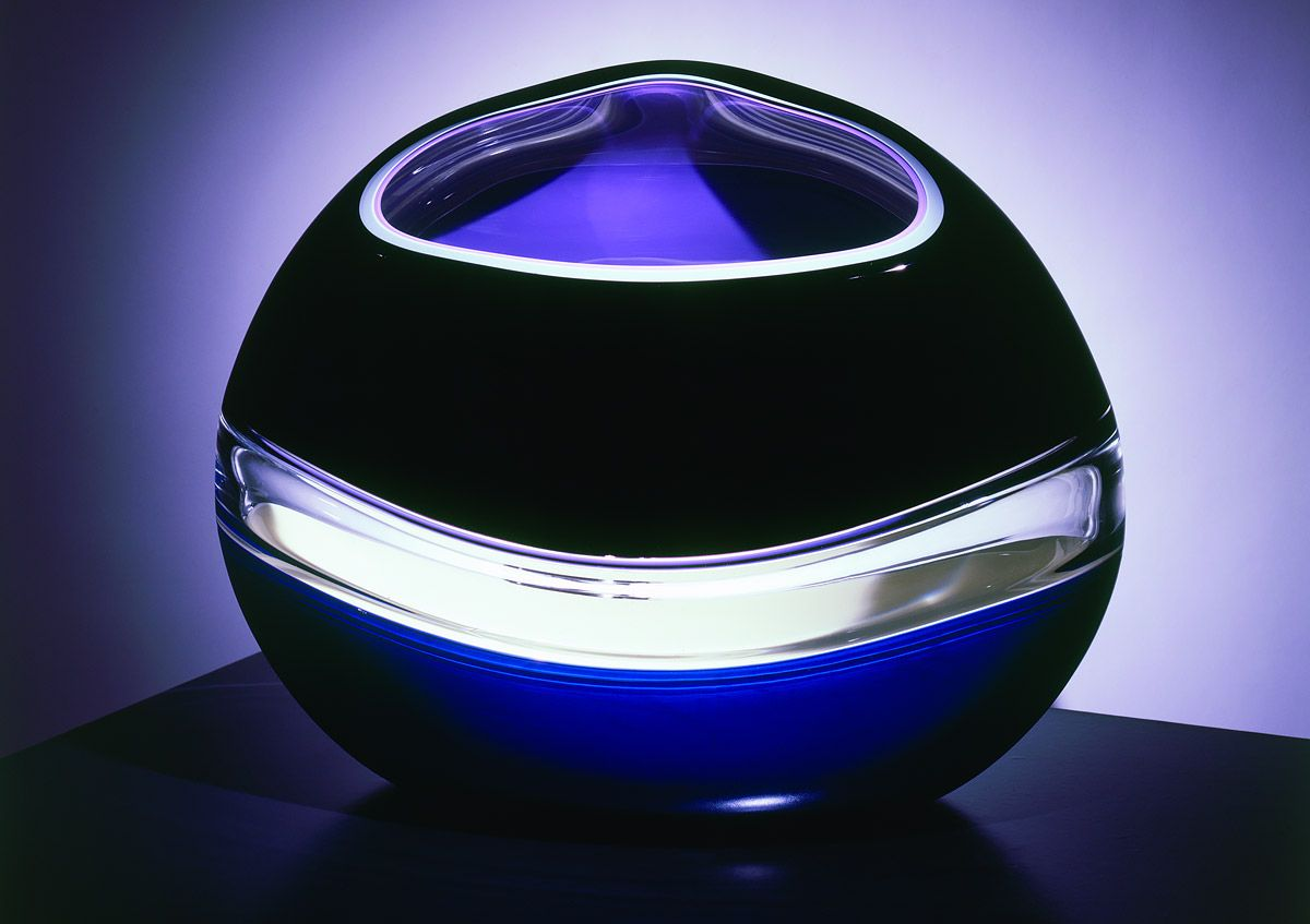 """Gorgeous pieces by Jamie Harris, a glass artist and designer living in New York City.   """"I approach my sculptural glass work more from a painterly perspective than as a traditional glassblower. My work is about loud splashes of color, about capturing the innate way glass transmits, reflects, and absorbs color. You can see the sensibility in a number of approaches, from the strictness of my blown work to the organic looseness of my cast wall panels. Yet all of my work shares a similar lov..."""