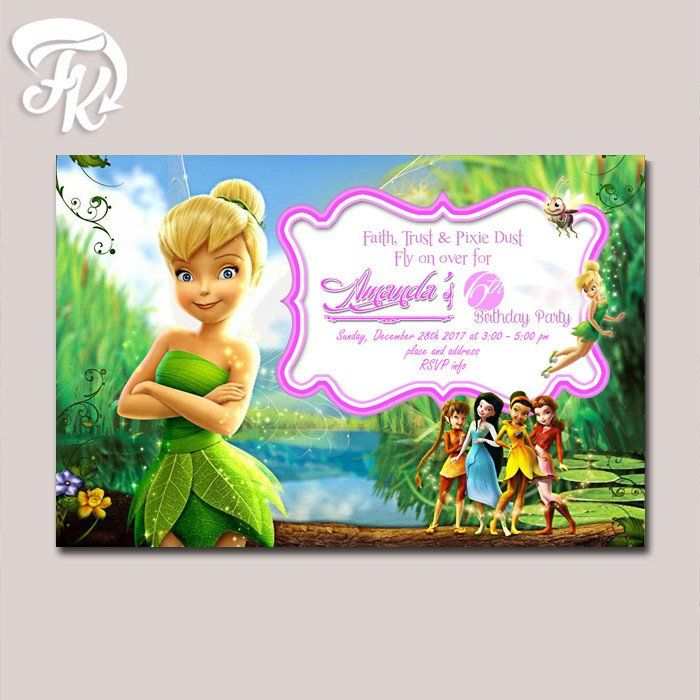 Tinkerbell and friends birthday party card digital invitation kid tinkerbell and friends birthday party card digital invitation kid birthday party bookmarktalkfo Choice Image