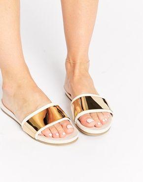 fdc7cb1fd9464d ALDO Desserat White   Gold Mule Flat Sandals