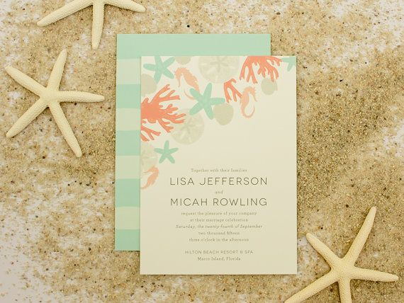 Items similar to Beach Wedding Invitation, Sand Dollar, Shells, Sea Horse, Star fish Wedding Stationery, Destination Wedding Invite |  DEPOSIT | Refreshing on Etsy