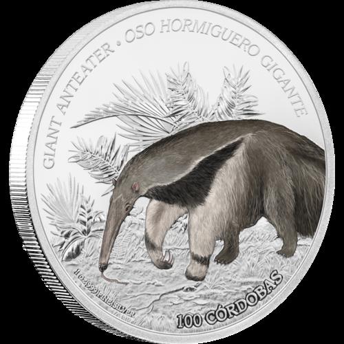 Wildlife Of Nicaragua Giant Anteater 1oz Silver Coin In 2020 Giant Anteater Silver Coins Anteater