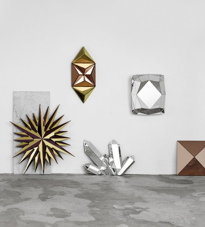 Metal Wall Art Home Decor Sculpture verre miroir géométrique Art Moderne