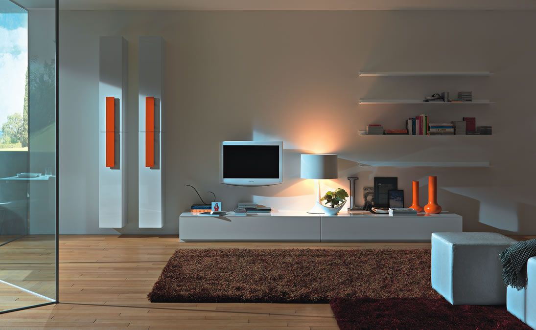 Modern Living Room Tv Wall Units Design In White Color With Orange