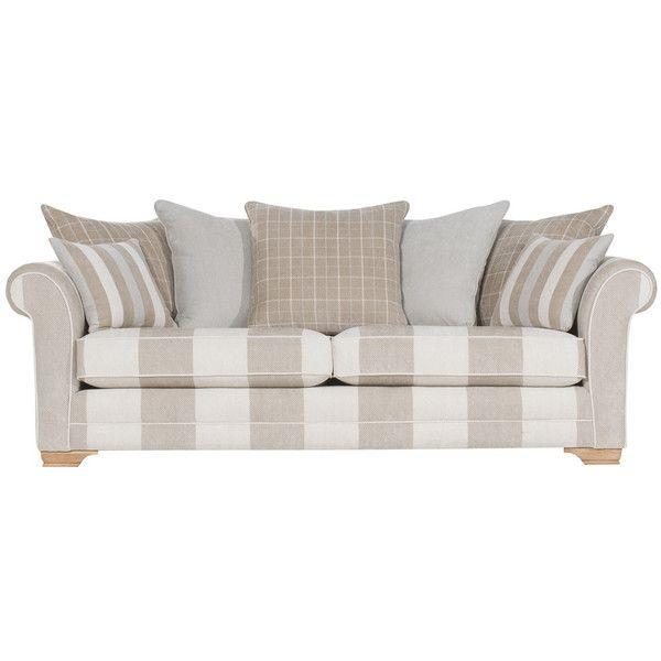 Harborough 4 Seater Pillow Back Sofa Natural Caramel
