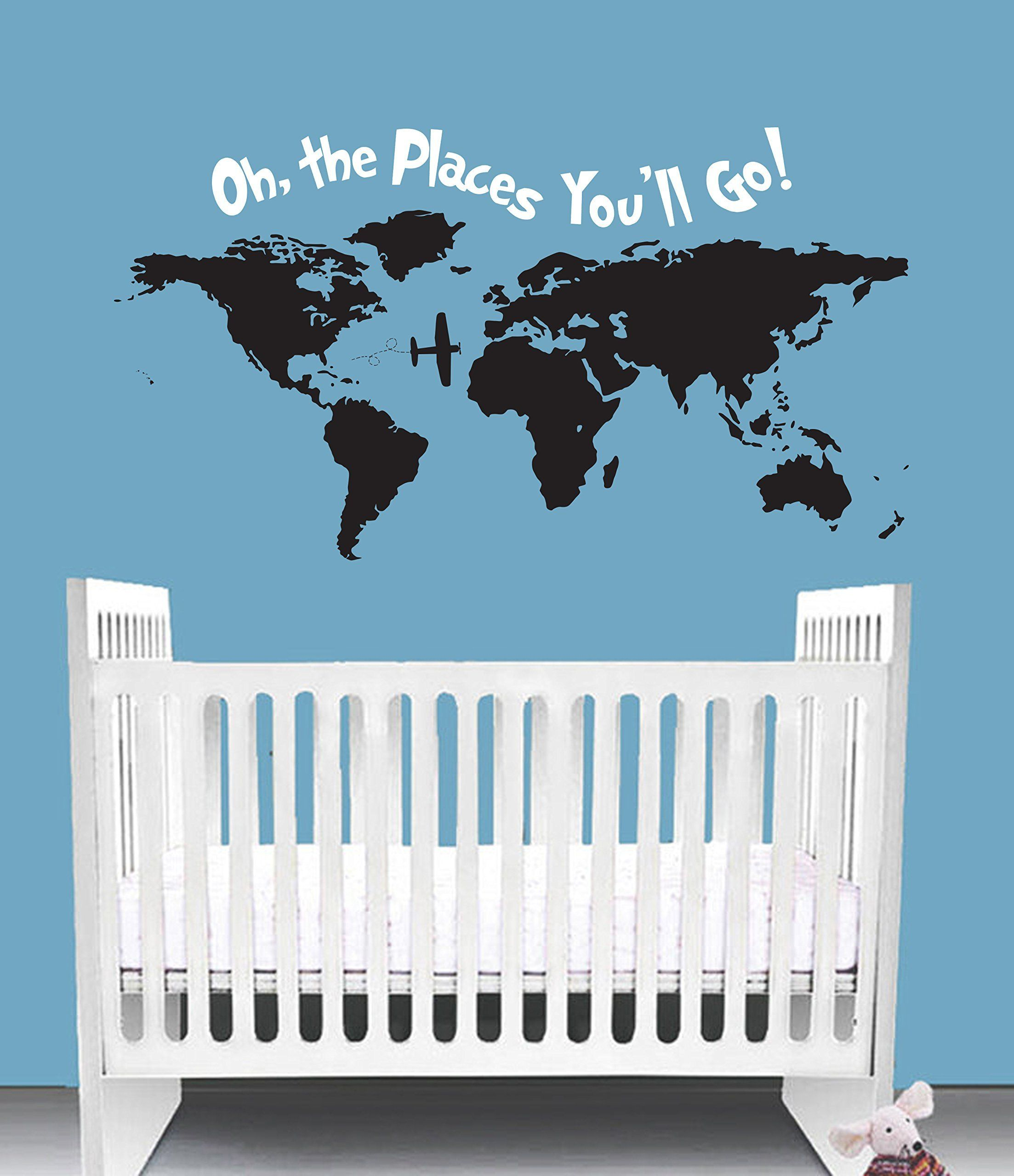Oh the places youll go dr seuss inspired nursery wall decal quote oh the places youll go dr seuss inspired nursery wall decal quote crib bedding wall art world nautical travel map bedroom this wall decal comes in gumiabroncs Choice Image