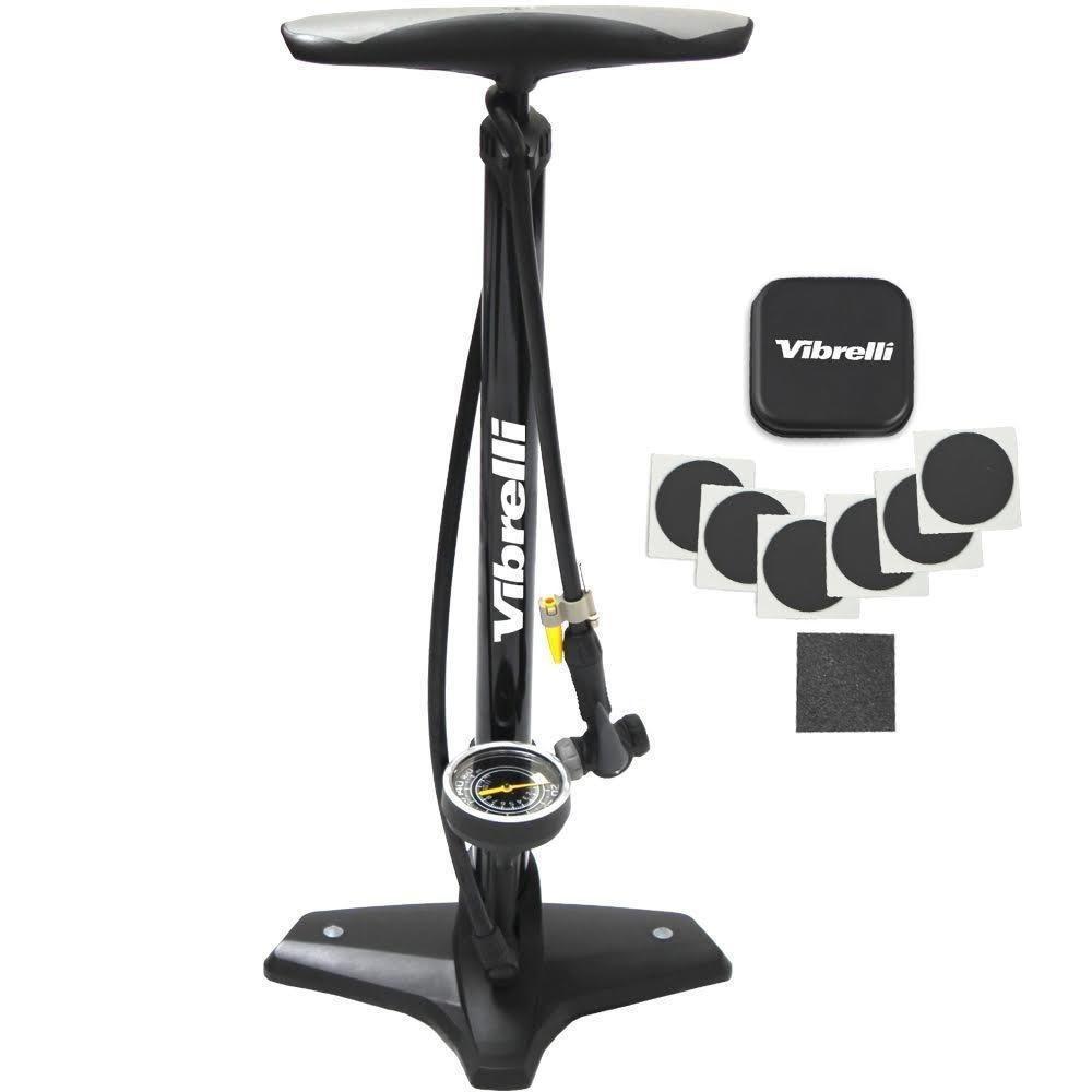 Bike Floor Pump Puncture Kit Gauge Ball Inflate Needle Presta