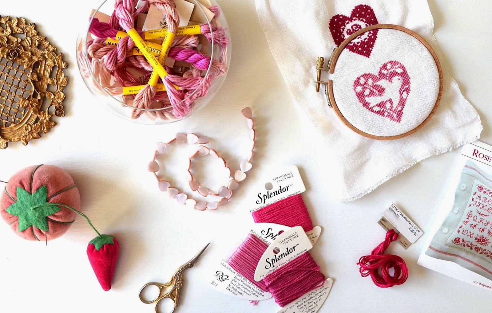 Sew French : pretty cross stitched hearts, shabby chic cross stitch ...