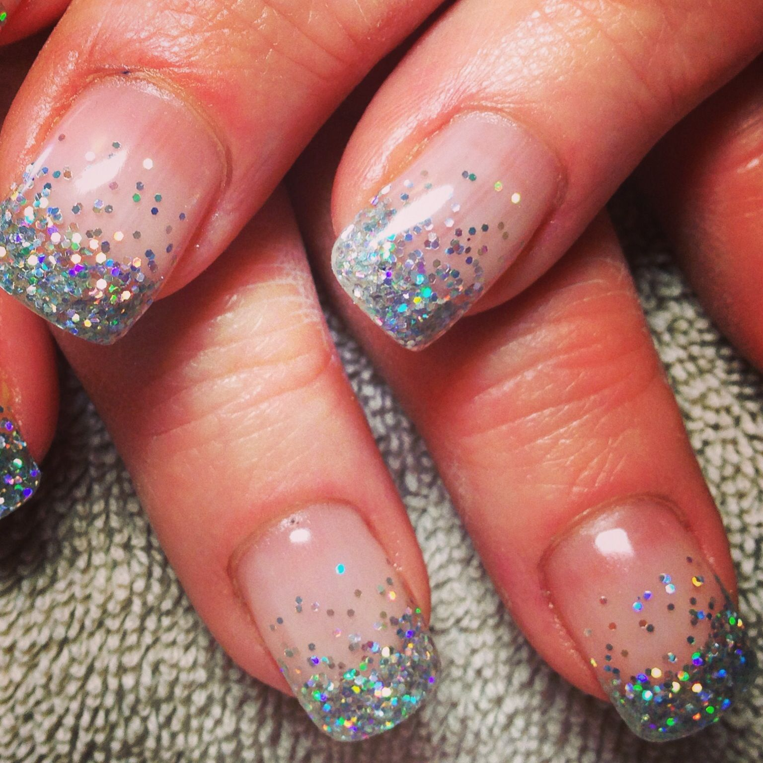 Iridescent Chunky Silver Glitter Nails