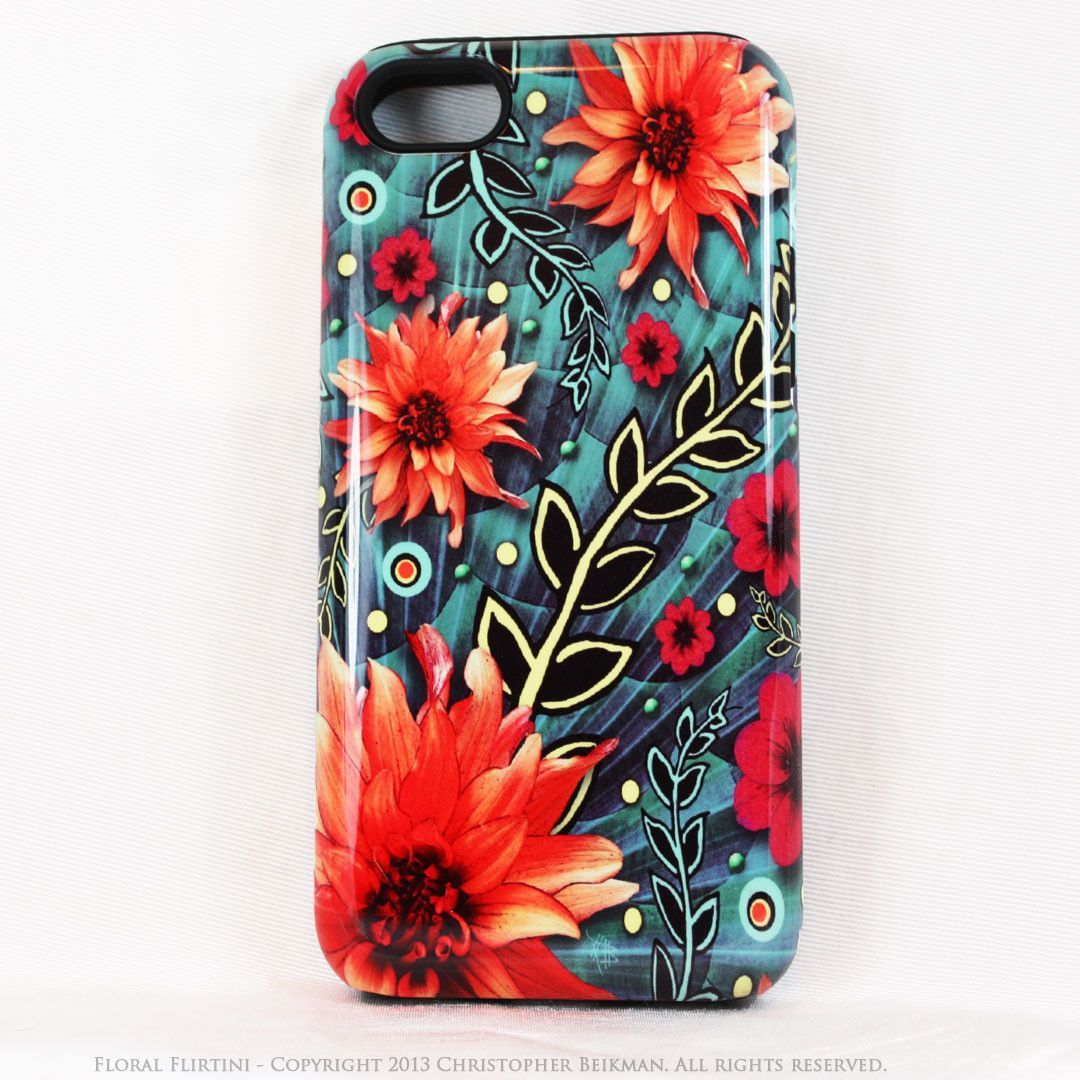 Paisley iPhone 5c TOUGH Case - Floral Flirtini - Teal Green and Orange Paisley Floral Art - Unique Case For iPhone 5c