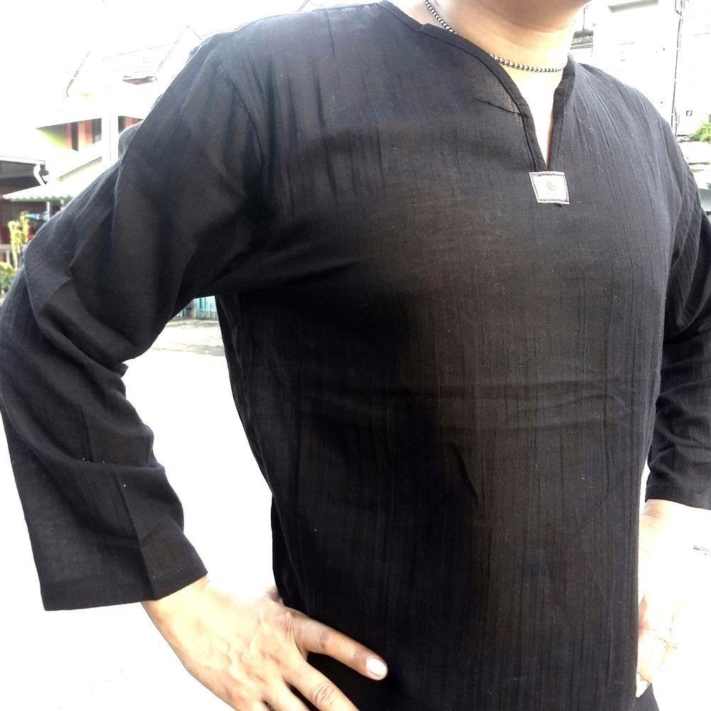Mens T-Shirt 100/% Cotton Coler black Thai Hippie Shirt V-Neck Beach Yoga Summer
