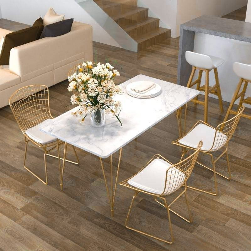 Modern Chic Style Rectangular Dining Table In Gold With White Marble Dining Table Marble Dining Table Gold Marble Tables Design