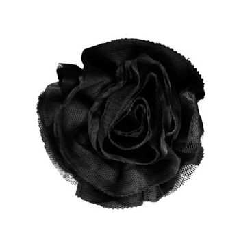 Miss Rose Sister Violet Ruffle Flower Broach Black from Putti Fine Furnishings