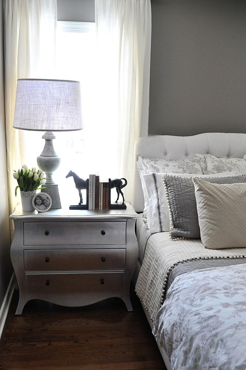 A Guest Bedroom Makeover in Grays is part of Gray Guest bedroom - I knew what I was going to do in our other bedrooms but Ireally wasn't sure what I wanted to do in here until I saw this new Ballard Designs bedding