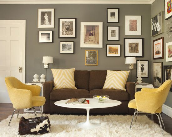 Brown couch and gray walls Interiores y Arquitectura Pinterest
