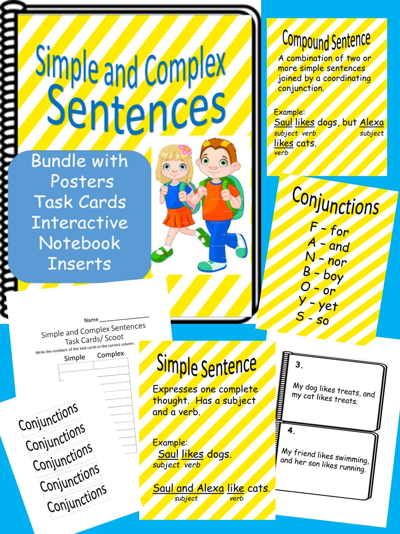 Simple And Complex Sentence Bundle Literacy Center
