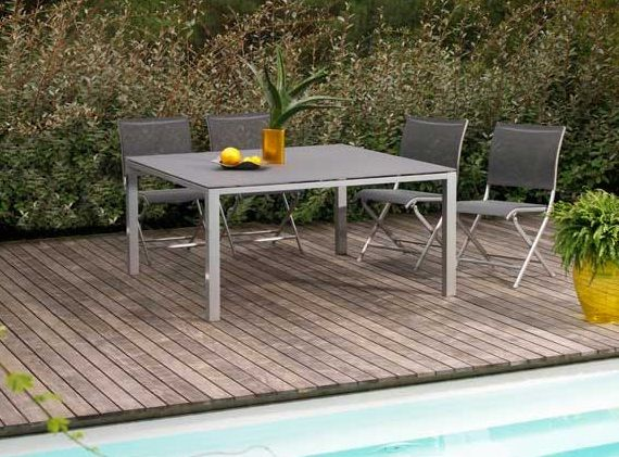 table de jardin en aluminium et textilène, gris béton | table de ...