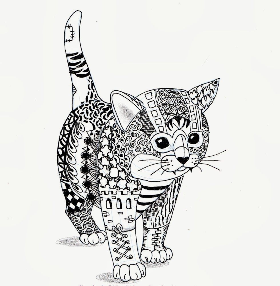 Efie goes zentangle kitten van ben kwok products i love - Chat a colorier ...