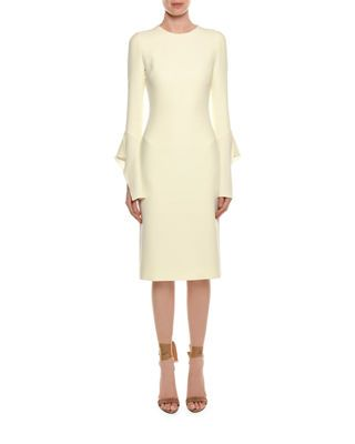 5dbf04fda76 Tom Ford Bell-Sleeve Silk Sheath Cocktail Dress
