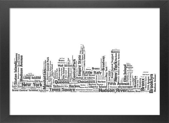 Cadeau parfait de New York Skyline typographie Print
